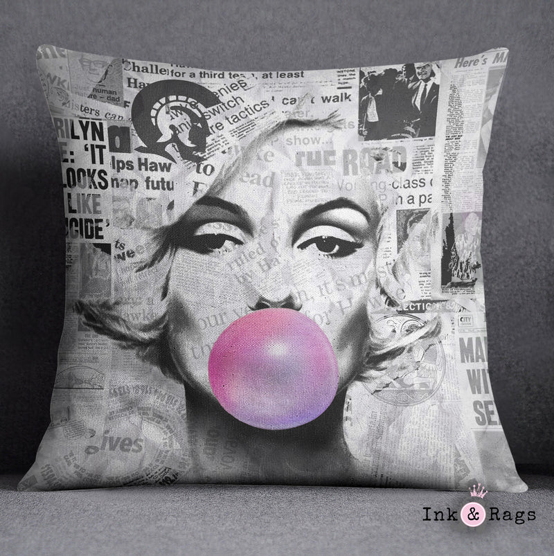 Marilyn Monroe Bubble Gum News Print Decorative Throw and Pillow Cover Set
