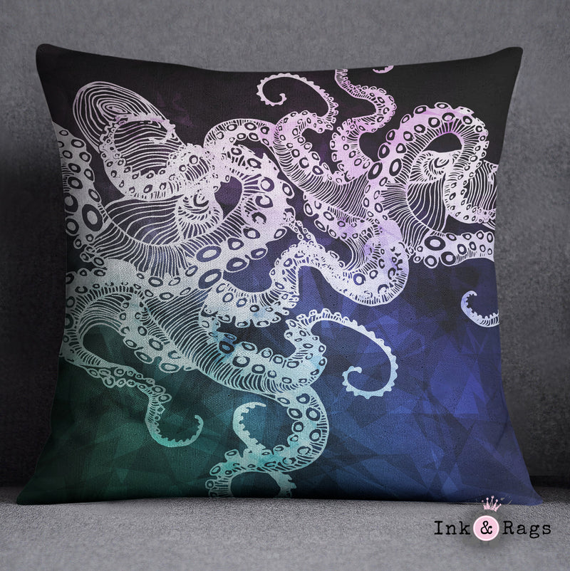 Midnight Octo Decorative Octopus Throw and Pillow Cover Set