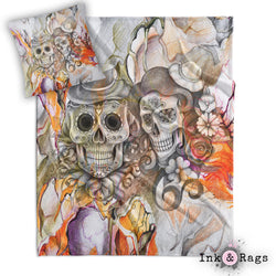 Orange Pencil Sketch Sugar Skull Couple Throw and Pillow Cover Set