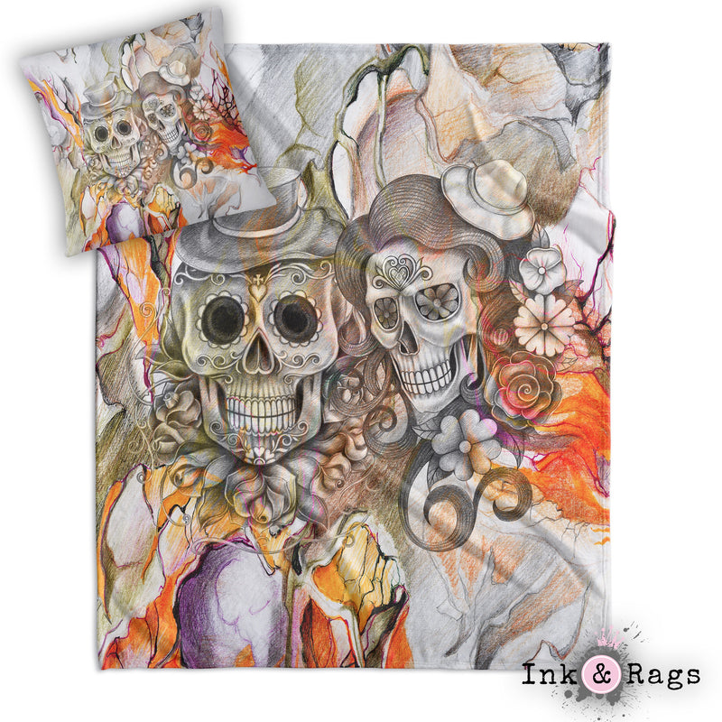 Orange Pencil Sketch Sugar Skull Couple Throw and Pillow Set