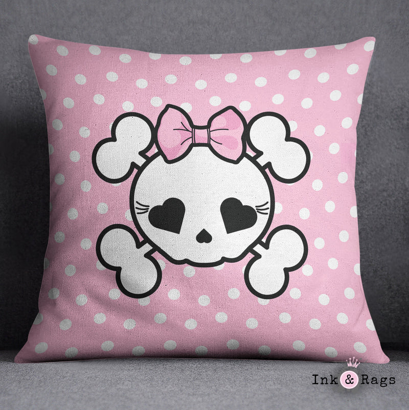 Pink Dot Candy Skull Decorative Throw and Pillow Set