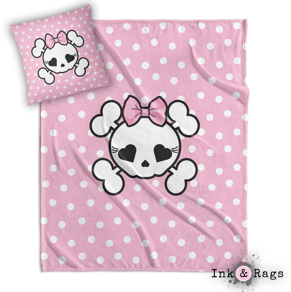 Pink Dot Candy Skull Decorative Throw and Pillow Cover Set
