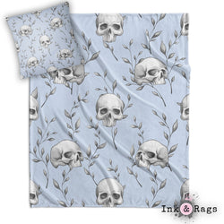 Powder Blue Skull and Branch Decorative Throw and Pillow Cover Set