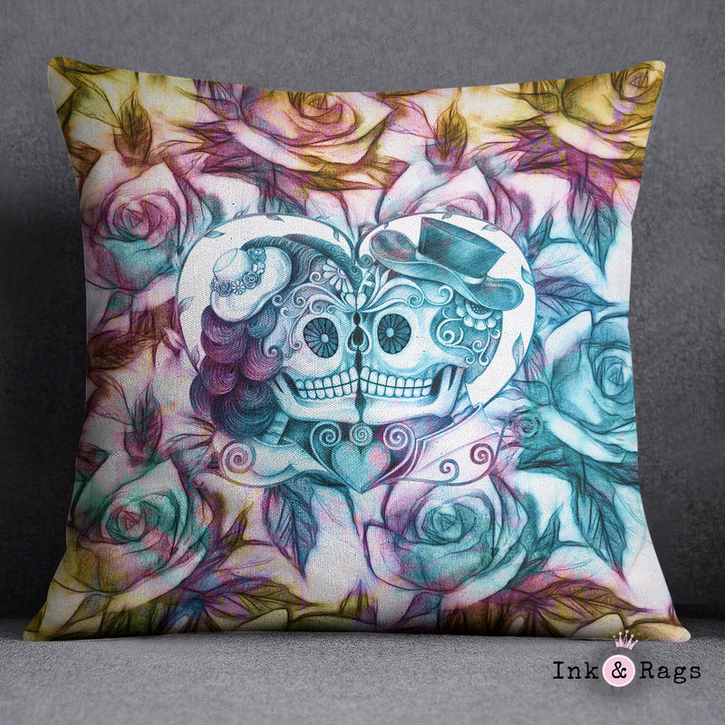 Purple Gold and Teal Kissing Couple Sugar Skull Rose Decorative Throw and Pillow Set