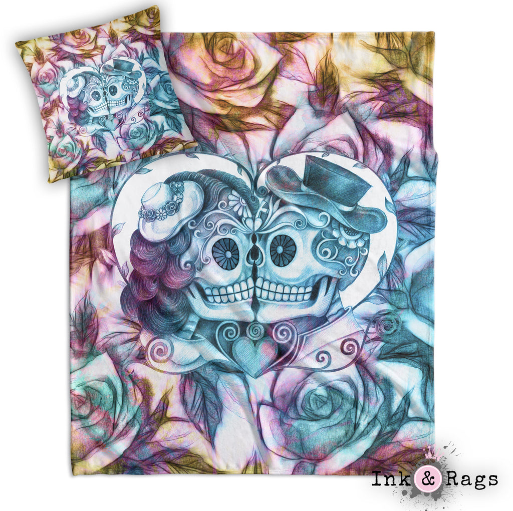 Purple Gold and Teal Kissing Couple Sugar Skull Rose Decorative Throw and Pillow Cover Set