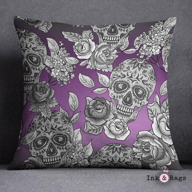 The Original Purple Ombre Sugar Skull Decorative Throw and Pillow Cover Set