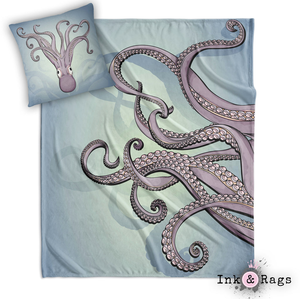 Purple Tentacle and Full Octopus Decorative Throw and Pillow Cover Set