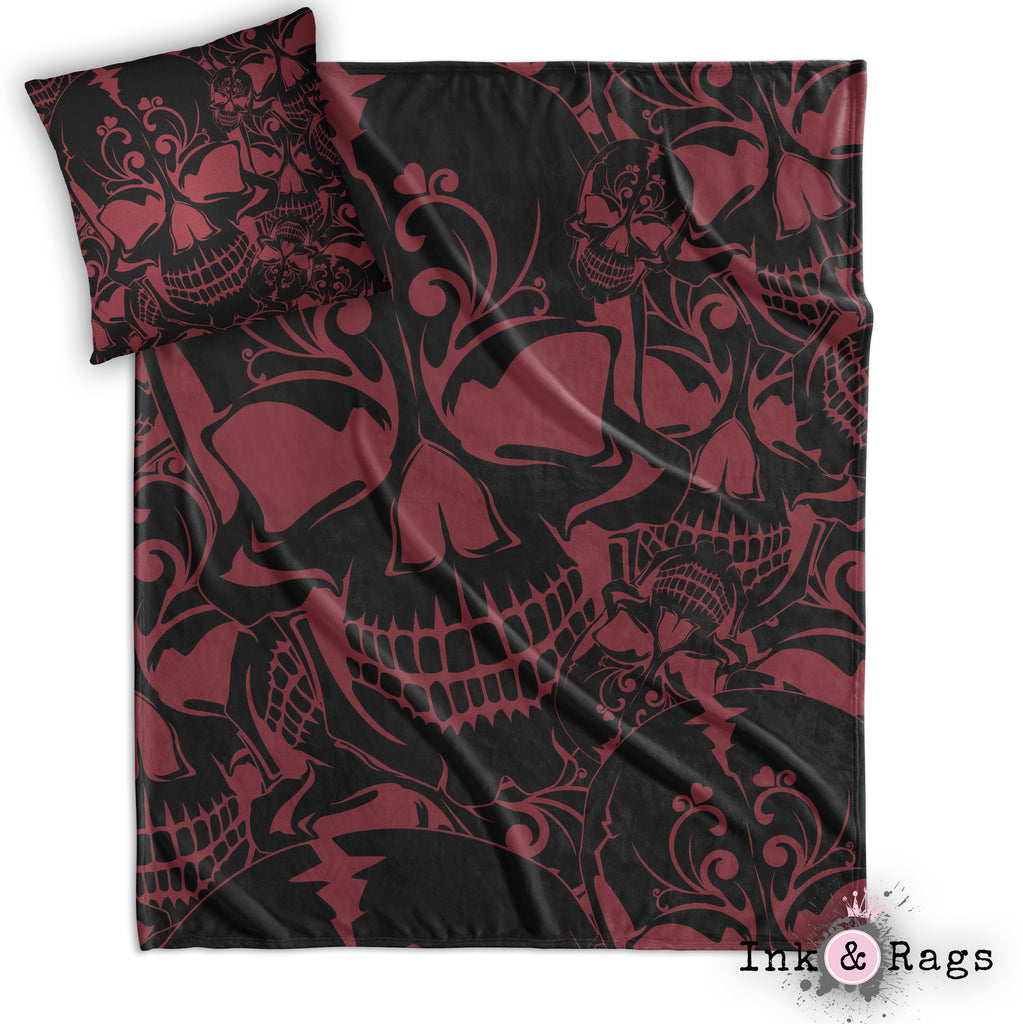 Red and Black Collage Skull Throw and Pillow Cover Set