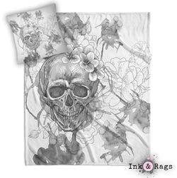 Silver Watercolor Skull and Flower Throw and Pillow Cover Set