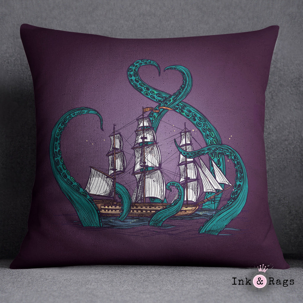 Teal and Purple Kraken Ship Decorative Throw and Pillow Cover Set