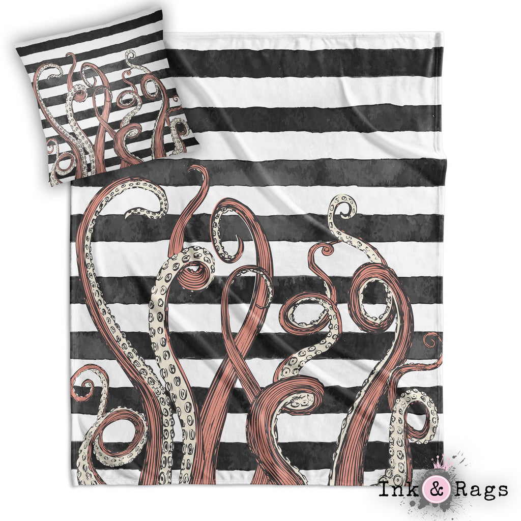 Tentacle Stripe Throw and Pillow Cover Set
