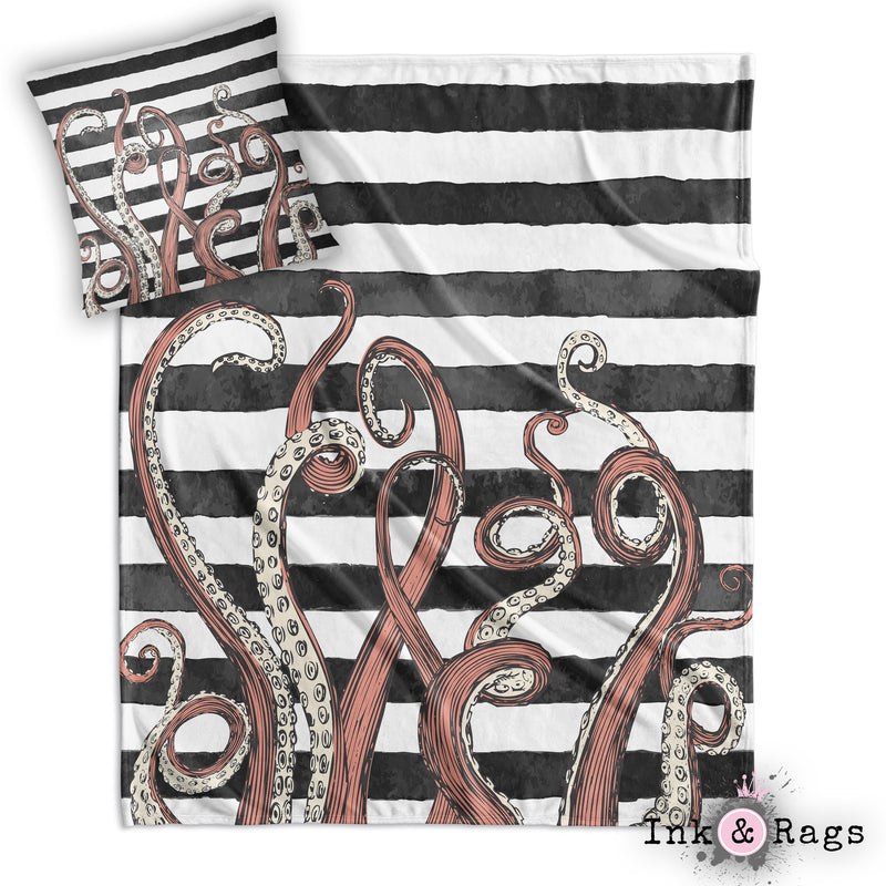 Tentacle Stripe Throw and Pillow Set WHITE