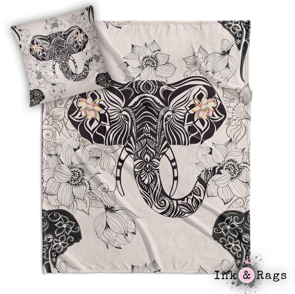 Tribal Elephant and Flower Decorative Throw and Pillow Cover Set