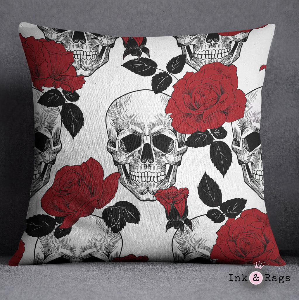 Black White and Red Rose Skull Throw and Pillow Cover Set