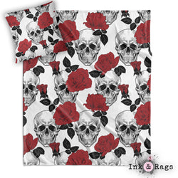 Black White and Red Rose Skull Throw and Pillow Set