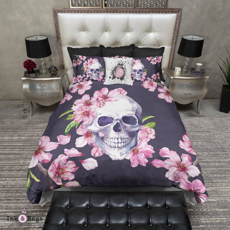 Dusky Purple and Pink Cherry Blossom Skull Bedding