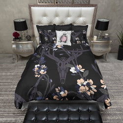 Purple and Blue Blossom and Buck Skull Bedding