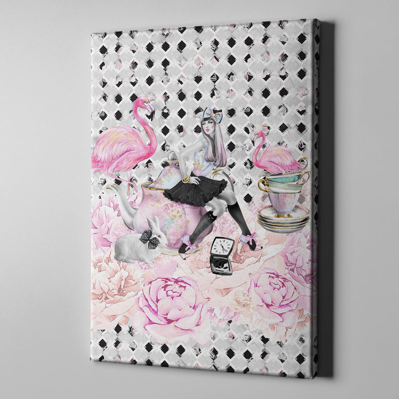 Mad Tea Party Alice in Wonderland Inspired Fashion Gallery Wrapped Canvas