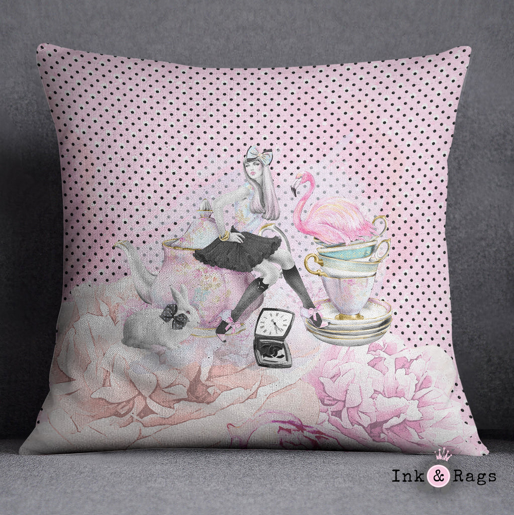 Mad Tea Party Alice in Wonderland Inspired Fashion Throw Pillow