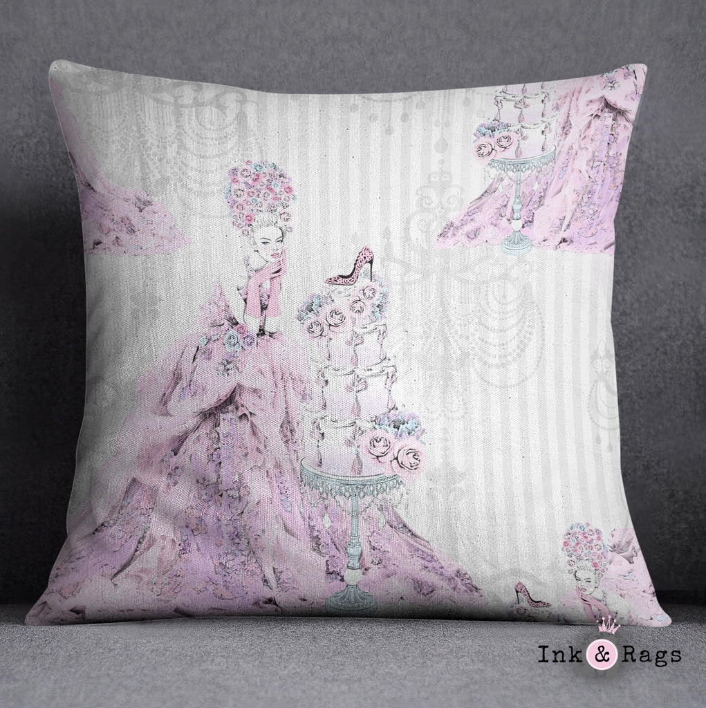 Marie Antoinette Inspired Baroque Fashion Throw Pillow