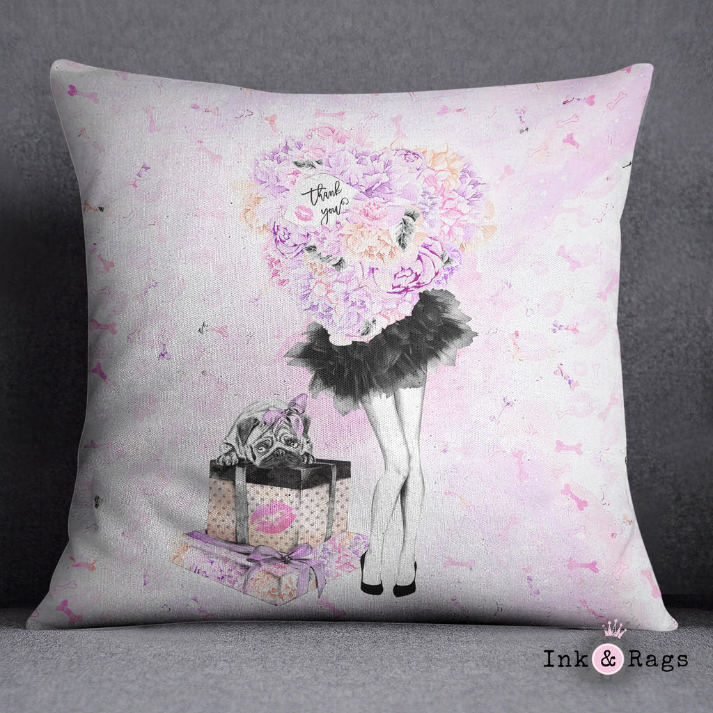 Pug Love A Girls Best Friend Fashion Decorative Throw and Pillow Cover Set