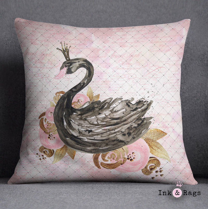 Black Swan Fashion Decorative Throw and Pillow Cover Set
