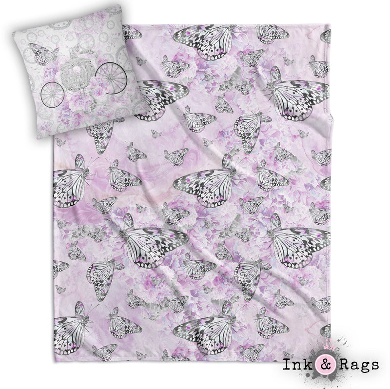 Cinderella Butterfly Fashion Decorative Throw and Pillow Cover Set