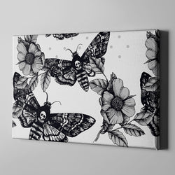 Death Moth and Flower Gallery Wrapped Canvas WHITE