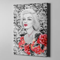 Hollywood Marilyn on Damask Gallery Wrapped Canvas