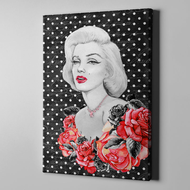 Hollywood Marilyn on Polka Dots Gallery Wrapped Canvas