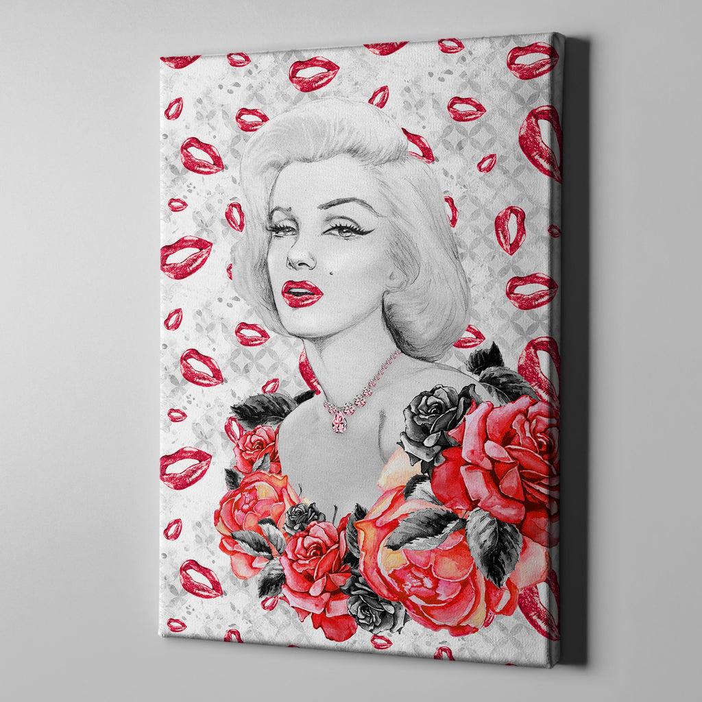 Hollywood Marilyn on Lips Gallery Wrapped Canvas