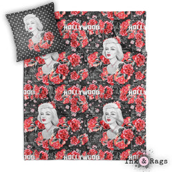 Hollywood Red Rose Marilyn Decorative Throw and Pillow Cover Set