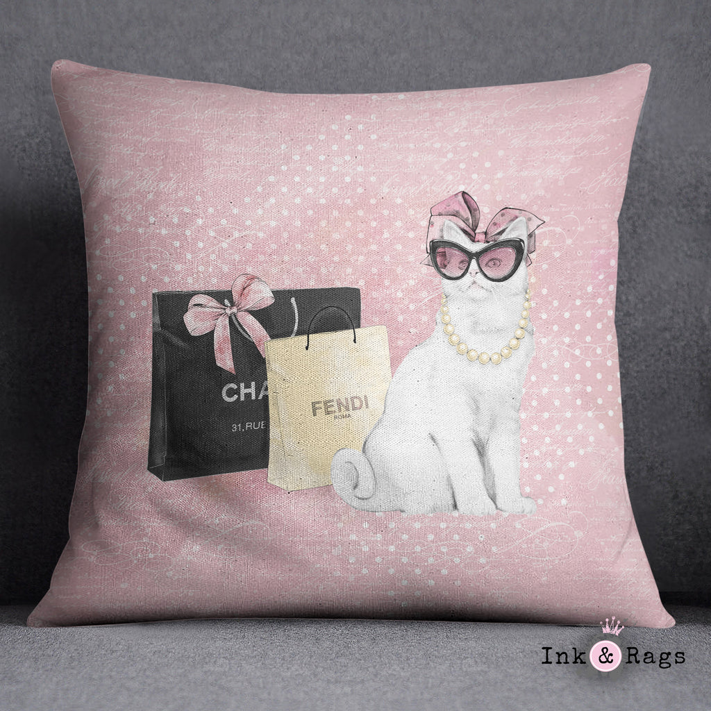 Little Miss Kitty Throw Pillow