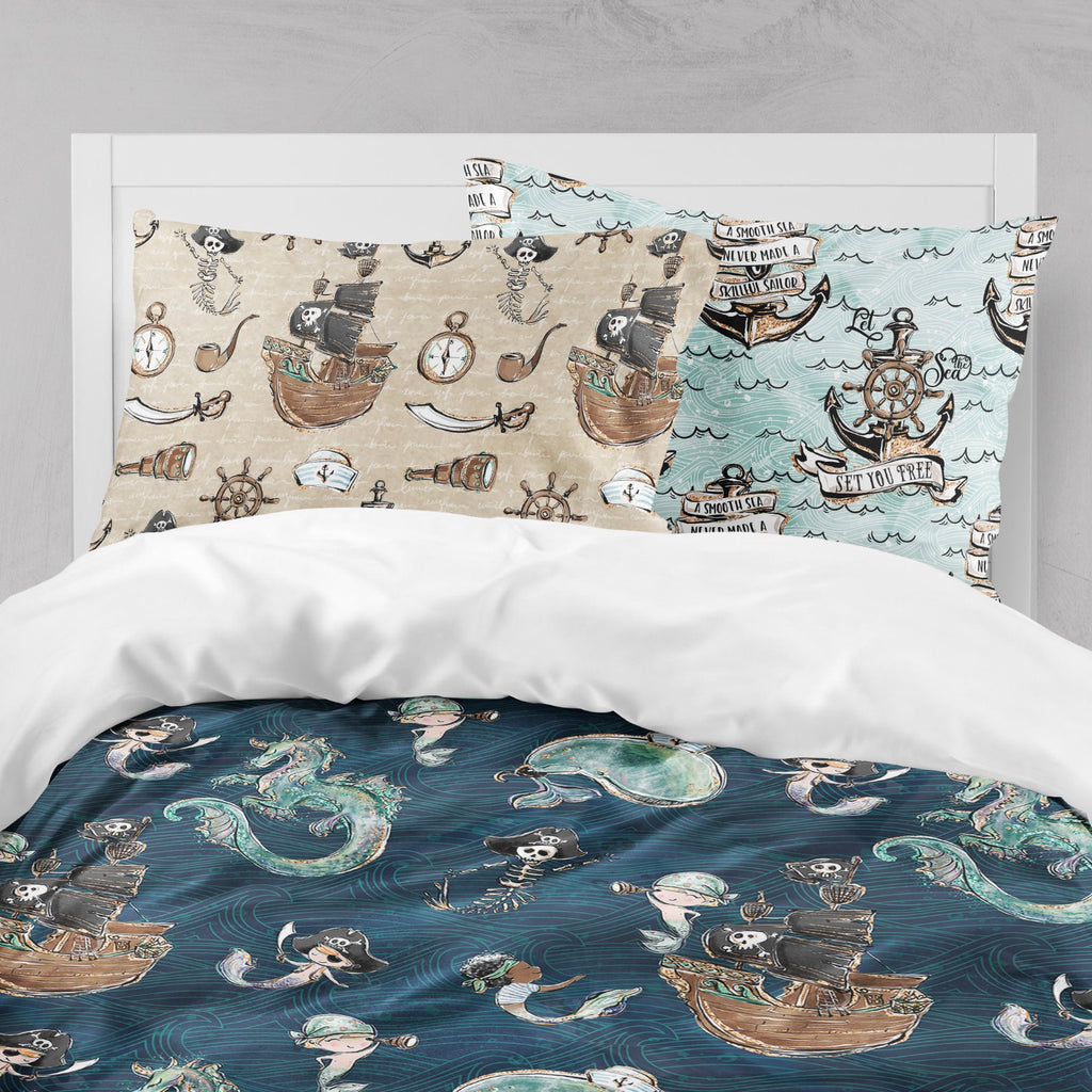 Majestic Merboy and Merman Dragon Pirate Big Kids Bedding