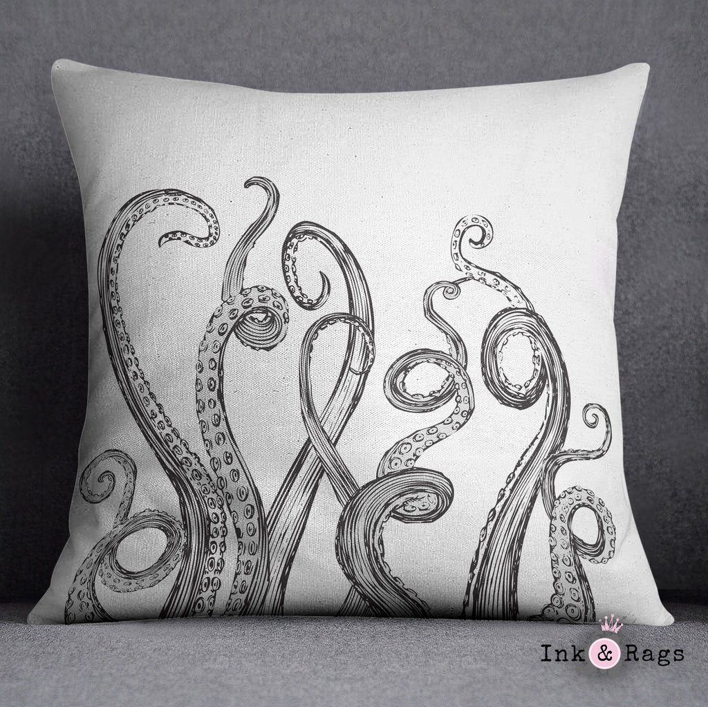 White Octopus Tentacle Throw Pillow