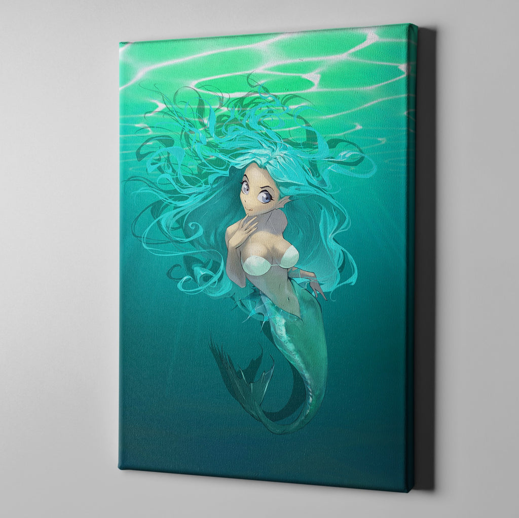 Underwater Anime Mermaid Gallery Wrapped Canvas