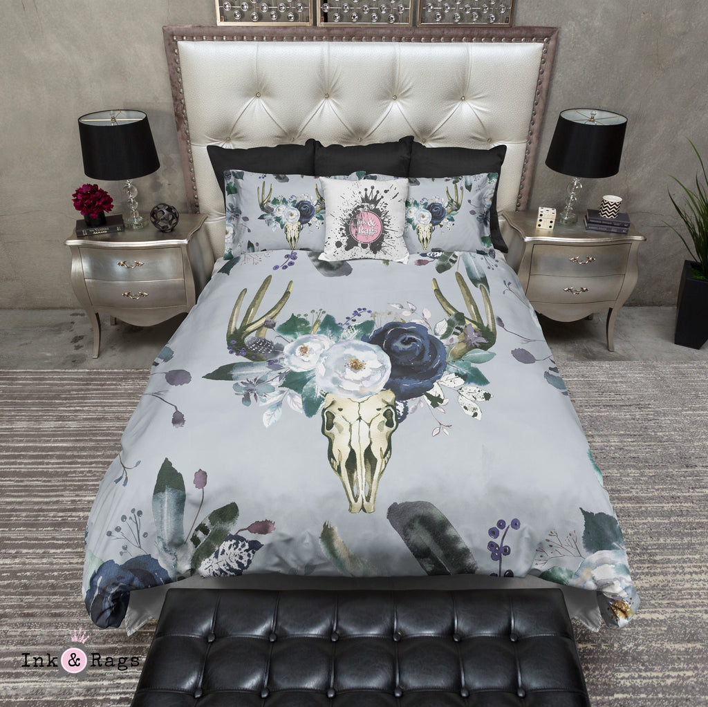 Blue Purple and Green Watercolor Deer Flower and Buck Skull Bedding Collection