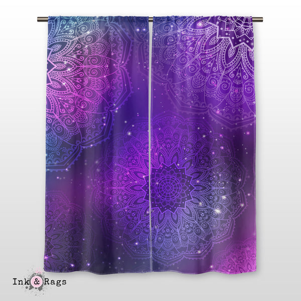 Boho Purple Pink Teal and Blue Mandala Curtains