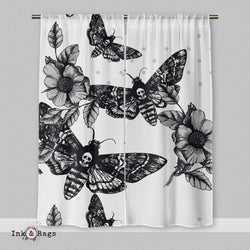 Death Moth and Flower Curtains or Sheers WHITE