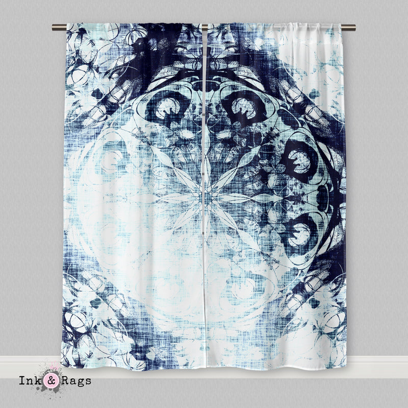 Boho Blue Ombre Mandala Curtains