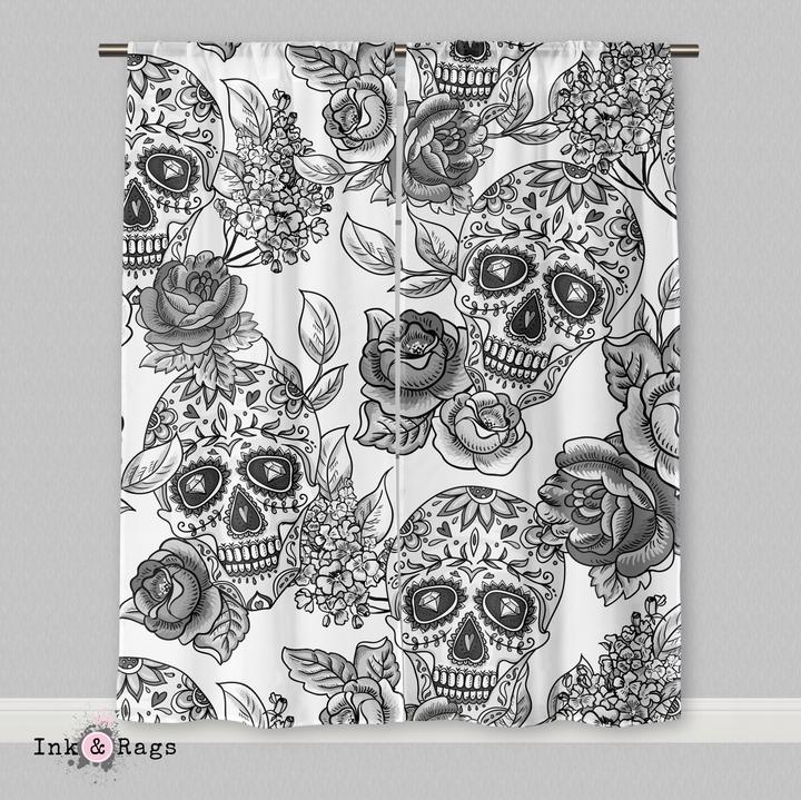 IN STOCK SAMPLE White Sugar Skull - 20 x 63 Curtain Panels, Set of 2