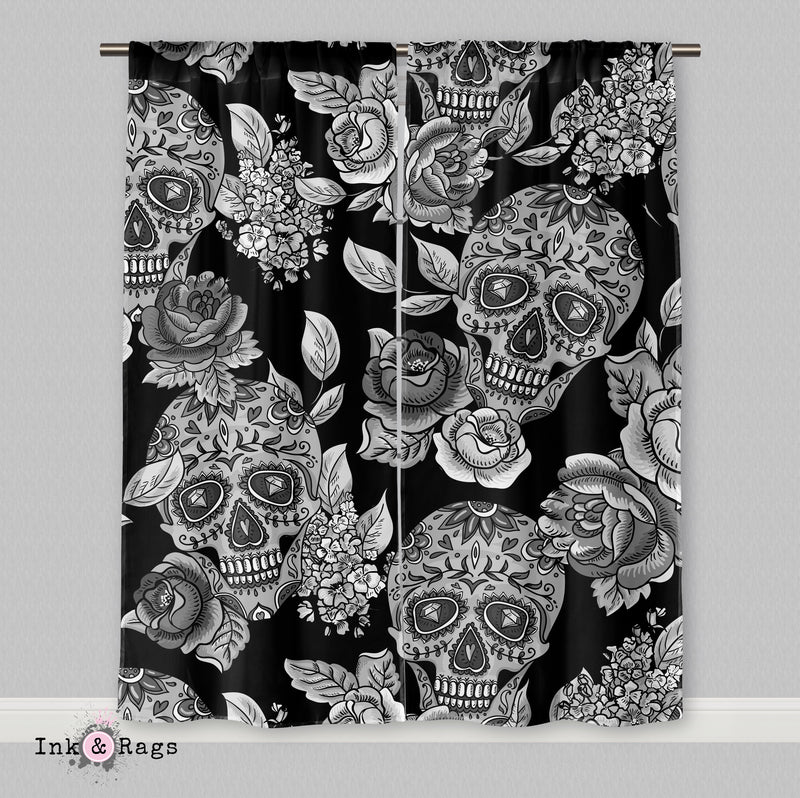Signature Black Sugar Skull Curtains
