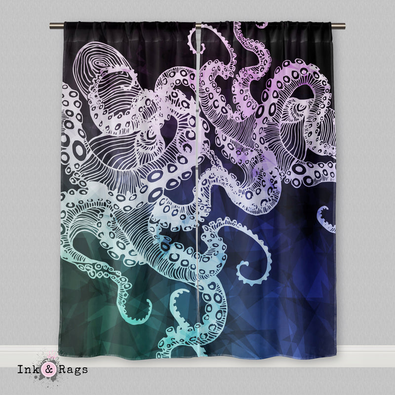 Midnight Octopus Curtains Or Sheers