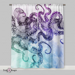 Modern Watercolor Octopus Curtains Or Sheers