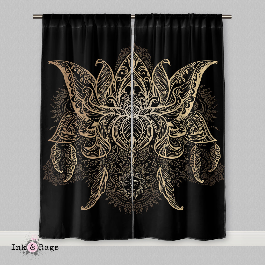 Boho Mehndi Lotus Blossom Flower Curtains