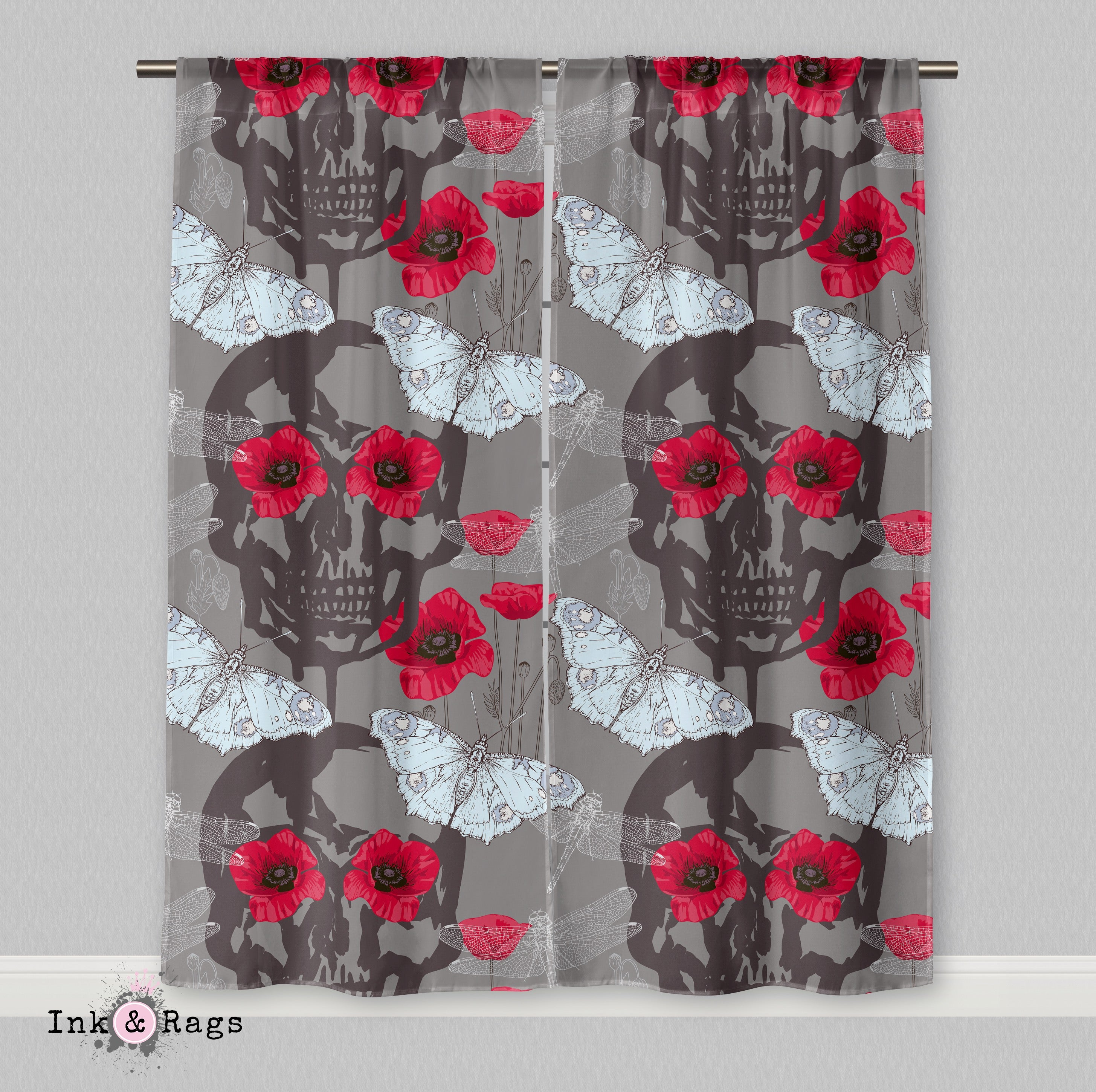 Red Poppy Skull Curtains or Sheers - Ink and Rags