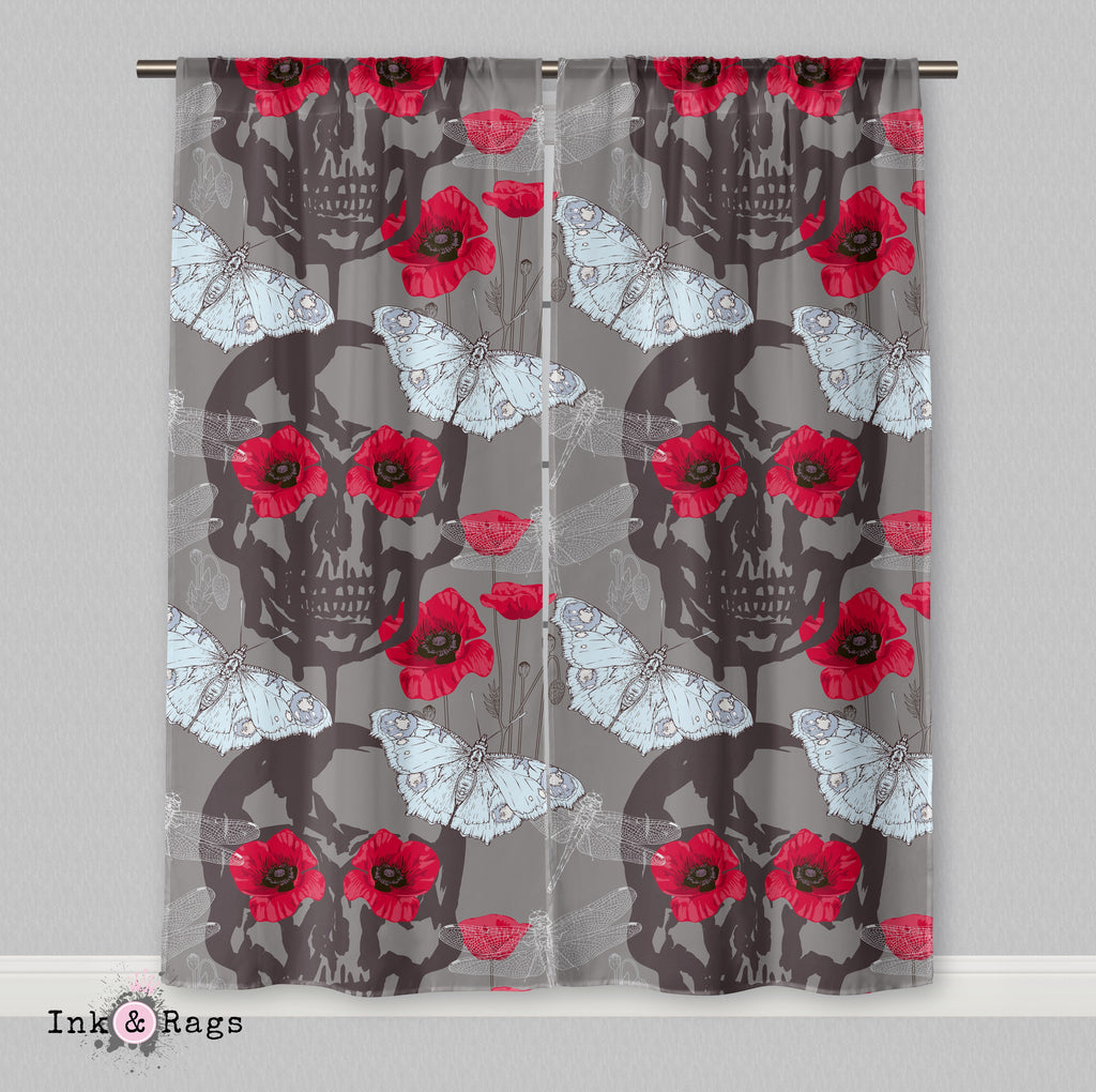 Red Poppy Skull Curtains