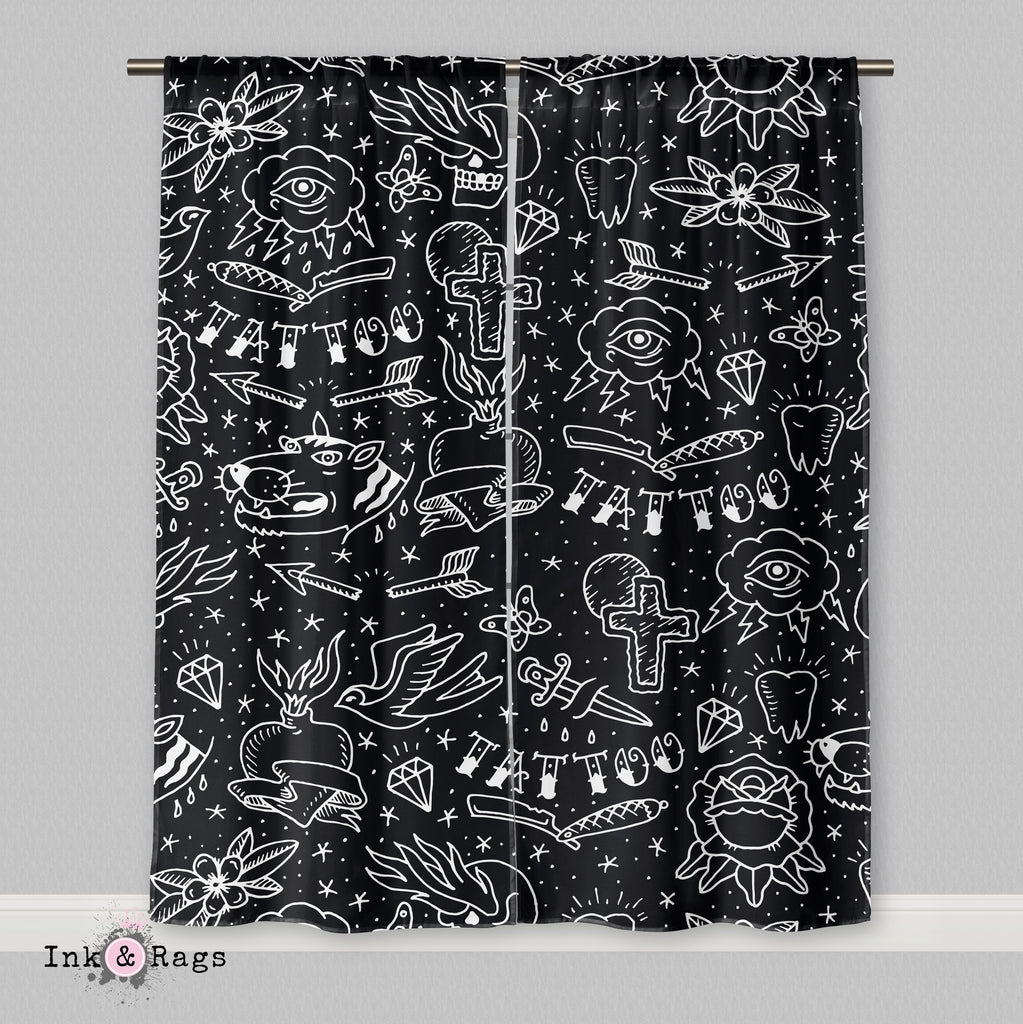 Rockabilly Hand Drawn Tattoo Curtains