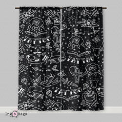 Rockabilly Hand Drawn Tattoo Curtains or Sheers