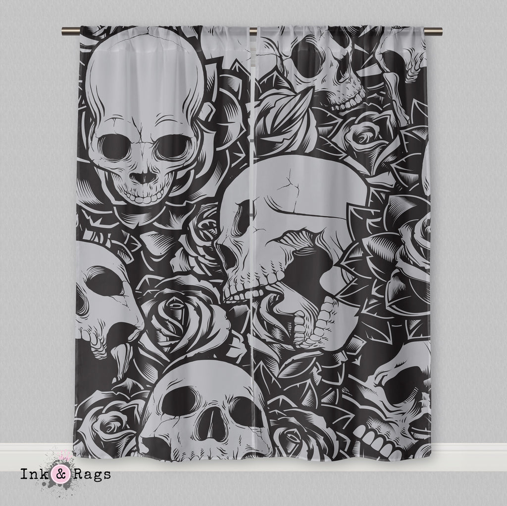 Drowning in Roses Skull Curtains